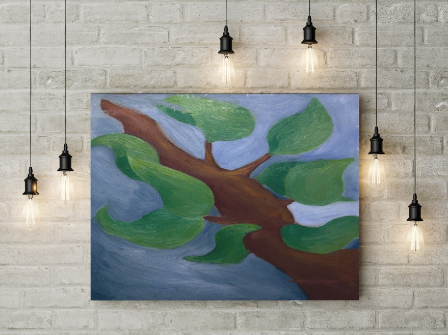 branch with leaves painting mockup