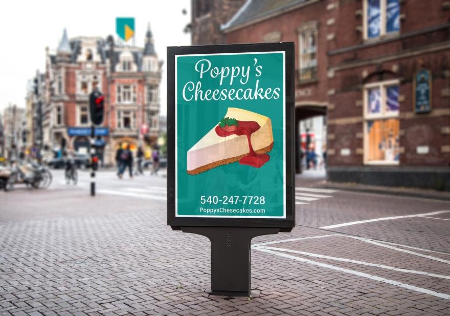 Poppy Cheesecake Street Billboard PSD MockUp 2