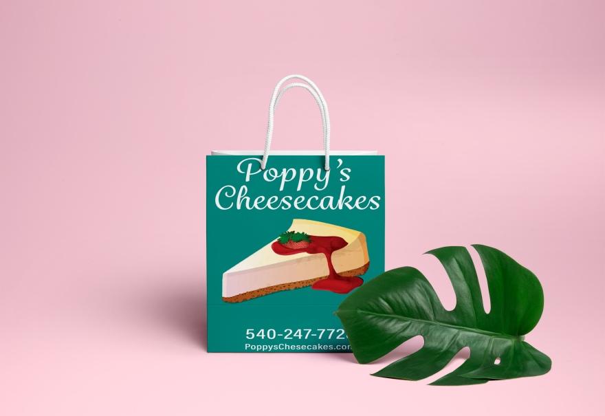 Poppys Cheesecake Shopping Bag PSD MockUp 2